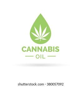 Medical Cannabis oil icon design with Marijuana leaf and hemp oil drop symbol. Vector illustration.