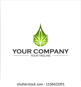 Medical Cannabis Oil Logo design with Marijuana leaf and hemp oil drop symbol. Vector illustration