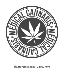 Medical Cannabis Original Stamp Design Vector Round Art