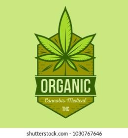 medical cannabis retro logo, cannabis vector label illustration, cannabis green leaf emblem
