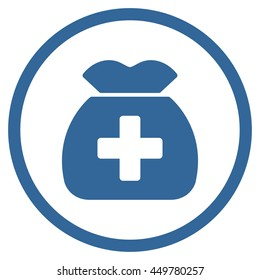 Medical Capital vector icon. Style is flat circled symbol, cobalt color, rounded angles, white background.