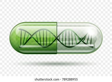 medical capsule with a DNA molecule structure inside