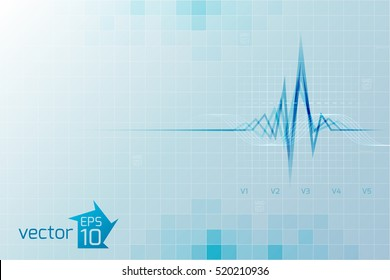 Medical cardio template with cardiogram in digital style on light blue background vector illustration