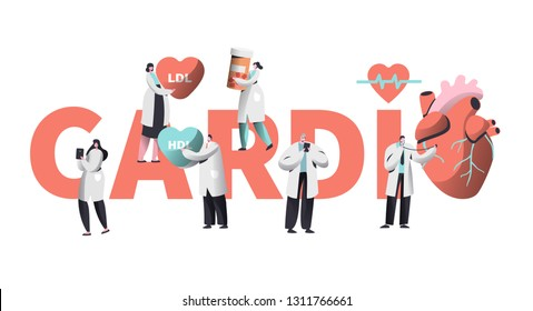 Medical Cardiology Worker Care Heart Health Typography Banner. Team Character for Poster Background. Pill for Treatment. Emergency Help First Aid or Healthcare Concept Flat Cartoon Vector Illustration