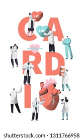 Medical Cardiology Worker Wellness Heart Health Typography Banner. Team Character for Poster Background. Pill for Treatment. Emergency Help First Aid or Healthcare Concept Fla Vector Illustration