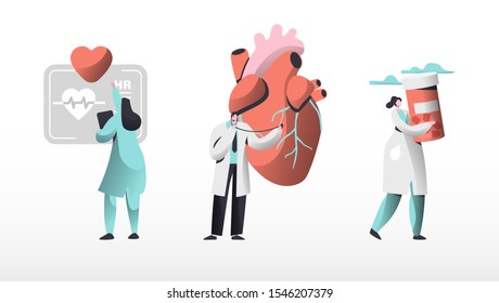 Medical Cardiology Workers Care Heart Health Set. Cardiologists Team with Pill for Treatment, Listen Heart Beating. Emergency Help First Aid or Healthcare Concept Cartoon Flat Vector Illustration