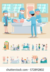 Medical care composition with doctors patients liposuction surgery and different plastic procedures vector illustration