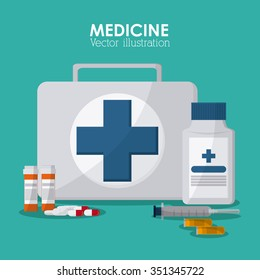 Medical care concept with medicine icons design, vector illustration 10 eps graphic.