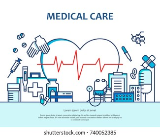 Medical care concept in modern flat line style in heart shape. Diagnosis, science and a lot of medicine icons. Banner for website or magazine. Header, poster, flyer backdrop. Cartoon design