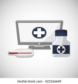Medical care design. Health care icon. Flat illustration