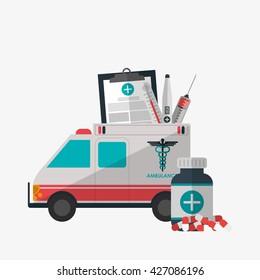 Medical care design. Health care icon. Colorful illustration
