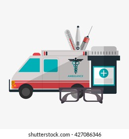 Medical care design. Health care icon. Colorful illustration
