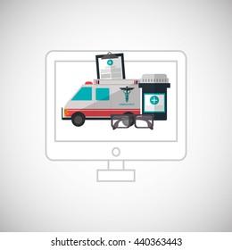 Medical care design. Health care icon. Colorfull illustration, v