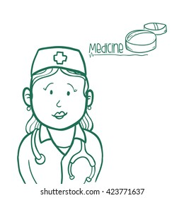 medical care design. nurse icon. flat illustration