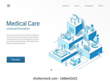 Medical Care. Doctor and nurse healthcare teamwork. Coronavirus patient treatment isometric line illustration. Hospital, clinic research, lab diagnostic icon. Growth step infographic 3d vector concept