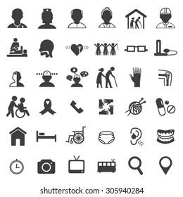 medical care in elderly icon set