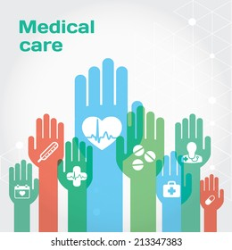 Medical care flat icon composition with hands. Modern vector flat illustration and design element