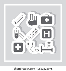 Medical care icons vector set. Hospital icon set