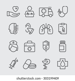 Medical care line icon