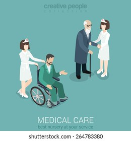 Medical care nurse doctor medicine hospital staff healthcare insurance flat 3d isometric web concept. Female in uniform with old man and patient on wheelchair. Creative people collection.