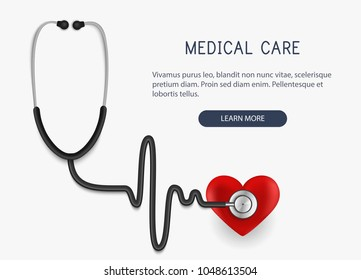 Medical care. Realistic stethoscope icon and heart. Vector illustration.