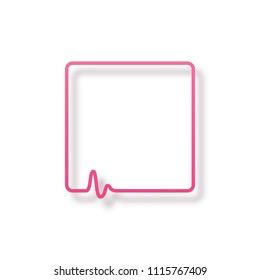 Medical care speech bubble isolated on white background. Vector pink frame with heartbeat diagram
