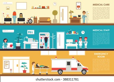 Medical Care and Staff Emergency room flat hospital interior concept web vector illustration. Doctor, Nurse, First Aid, Clinic. Medicine service presentation