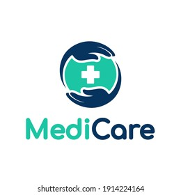 Medical care vector logo template. This design use hand and cross symbol. Suitable for help people.