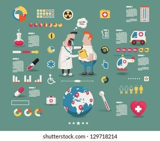 medical cartoon info graphic elements,