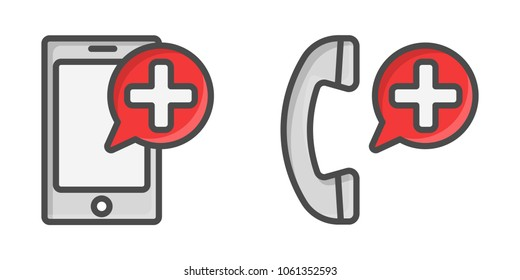Medical cell phone icons. Call button for emergency site.
