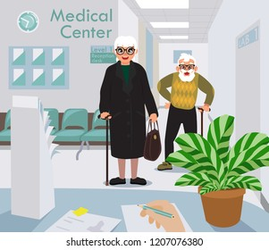 medical center concept, at the reception desk, old people waiting to get the paperwork done, nurse filling in the information cartoon flat design, vector illustration