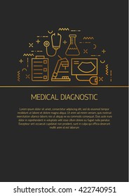 Medical center flyer or brochure template. Modern flat line design illustration concepts with different symbols medical research.