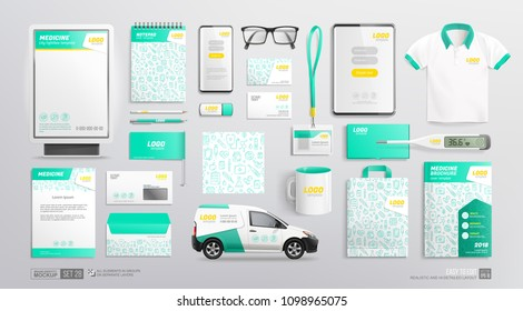Medical Center and Pharmacy brand identiy Mockup template. Medical corporate identity white and blue color design. Clinic branding mockup of brochure, adverising city lightbox, seamless pattern