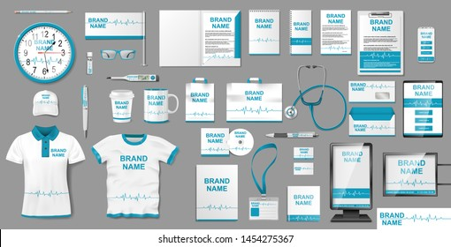 Medical Center or Pharmacy Branding identity design. Pharmacy Stationery mockup template elements, brochure, advertising city lightbox, shirt. Vector illustration