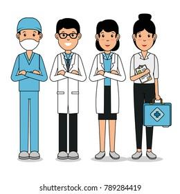 medical center professional team cartoon