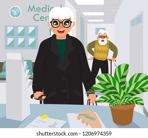 medical center, at the reception desk, old people waiting to get the paperwork done, nurse filling in the information cartoon flat design, vector illustration