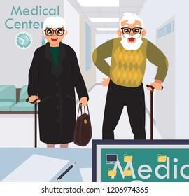 medical center reception desk, old people waiting to get the paperwork done, cartoon flat design, vector illustration