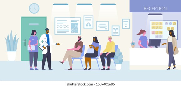 Medical center reception flat vector illustration. Men and women waiting in line, doctor speaking with patients cartoon characters. Hospital waiting room interior. Healthcare and medicine concept