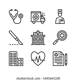 Medical center vector line icons. Hospital, medical clinic concepts. Simple outline symbols, modern linear graphic elements collection. Line icons set