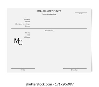 Medical certificate template. Blank form of a health examination results