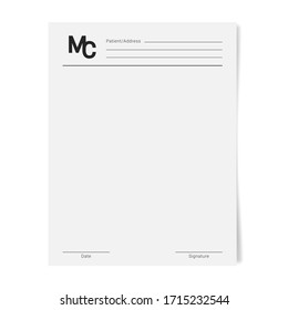 Medical certificate template. Health diagnostic prescription form