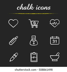 Medical chalk icons set. Heart shape, drugstore cart, ecg, thermometer, doctor, calendar, dropper, clipboard cardiogram, mortar and pestle. Isolated vector chalkboard illustrations