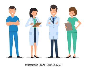 Medical characters flat people. Doctors and nurses standing together. Hospital staff. Medicine concept.