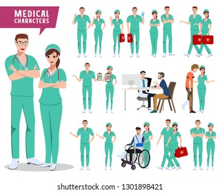 Medical characters vector set. Male and female doctor, nurse and hospital staff holding medical kit with patients isolated in white. Vector illustration.