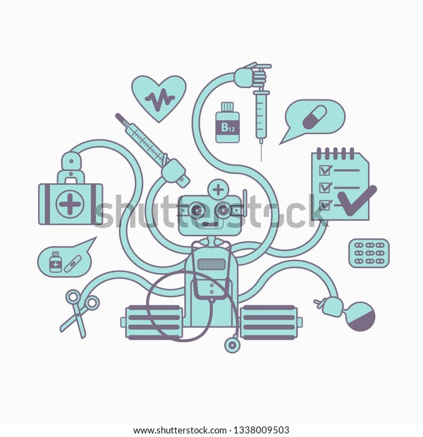 Medical Chatbot Concept Bot Many Hands Stock Vector (Royalty