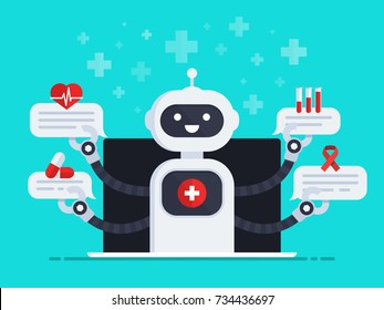 Medical Chatbot concept. Bot out of screen monitor holds speech bubbles with medical icons. Chat bot answers questions of patients.  Medicine vector illustration in flat design style
