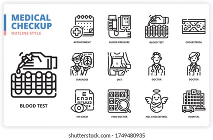Medical Check Up icon set for web design, book, magazine, poster, ads, app, etc.