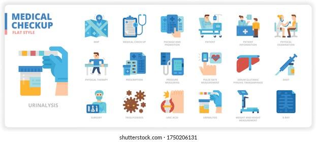 Medical Check Up icon set for web design, book, magazine, poster, ads, app, etc.