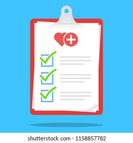 Medical Check List Clipboard Illustration Vector Icon