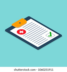 Medical Checklist Health check form on clipboard. Vector illustration isometric 3d health checkup healthcare concept.